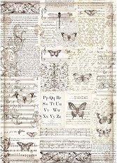 Декупажна хартия - Пеперуди и надписи - Формат А3