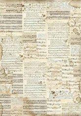 Декупажна хартия - Ноти - Формат А3