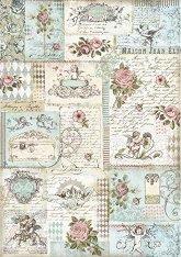 Декупажна хартия - Рози и картички - Формат А3