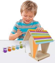 """Направи и декорирай сам - Дървена хранилка за птички - Творчески комплект от серията """"Outdoor"""" - играчка"""