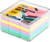 Цветно хартиено кубче с пластмасова поставка - Кубче от 360 листчета с размери 8.3 x 8.3 cm