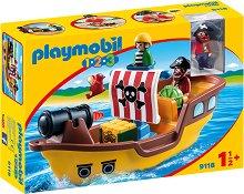 """Пиратски кораб - Детски конструктор от серията """"Playmobil: 1.2.3"""" - играчка"""