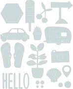Щанци за машина за изрязване и релеф - Summer Time - Комплект от 7 броя с размери от 0.6 до 5.4 cm