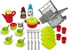 Детски кухненски съдове със сушилня - Комплект за игра с аксесоари -
