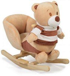 Детска дървена люлка - Мече - С музикални ефекти - играчка