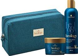 Подаръчен комплект с несесер - Beology Moisturizing - Шампоан и маска за суха коса -
