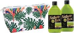 Подаръчен комплект с несесер - Nature Box Avocado Oil - Душ гел и лосион за тяло - червило
