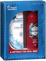 Подаръчен комплект за мъже - Head & Shoulders + Old Spice - Шампоан и балсам 2 в 1 и душ гел -