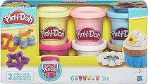 Моделин с конфети - Комплект от 6 цвята и две форми - играчка