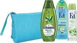 Подаръчен комплект с несесер - Fa Coconut Water & Schauma Nature Moments - Шампоан, душ гел и дезодорант -
