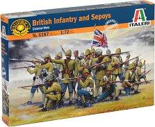 Британска пехота с индийски сипаи войници - Комплект от 50 фигури -