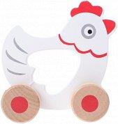 Пиле - Дървена играчка на колелца -