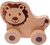 Лъвче - Дървена играчка на колелца - играчка