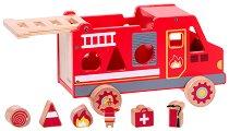 Сортер - Пожарна кола - Дървена играчка -
