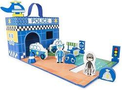 Полицейски участък - Комплект за игра от дърво -
