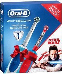 Oral-B Vitality Cross Action + Vitality Kids Disney Star Wars - Семеен комплект от 2 броя електрически четки за зъби - мокри кърпички