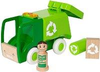 Камион за боклук - Дървена играчка със светлинен и звуков ефект -