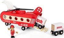 """Товарен хеликоптер с вагончета и аксесоари - Дървени играчки от серията """"Brio: Вагончета"""" - играчка"""