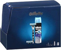 Подаръчен комплект за мъже - Gillette Mach 3 - Самобръсначка, гел за бръснене и несесер -