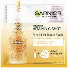 """Garnier Skin Naturals Vitamin C Shot Fresh-Mix Tissue Mask - Енергизираща и озаряваща маска за лице с витамин C от серията """"Skin Naturals"""" - маска"""