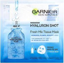 """Garnier Skin Naturals Hyaluron Shot Fresh-Mix Tissue Mask - Изглаждаща маска за лице с хиалурон от серията """"Skin Naturals"""" - мокри кърпички"""