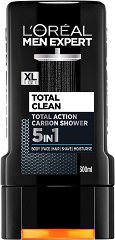 "L'Oreal Men Expert Total Clean 5 in 1 Carbon Shower - Душ гел за мъже 5 в 1 от серията ""Men Expert"" - крем"