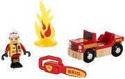 Пожарникар - Дървена играчка с аксесоари - играчка