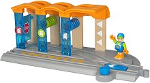 """Умна почистваща станция за влакове - Детска играчка със звуков ефект от серията """"Brio: Аксесоари"""" - релса"""