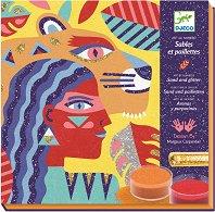 Оцветявай с цветен пясък - Животни - Творчески комплект за рисуване -