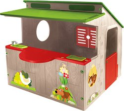 Детска сглобяема къща за игра с кухня - Размери 118 / 120 / 139 cm - играчка