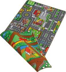 Двулицево килимче за игра - Град и ферма - Размери 67 x 100 cm - чанта