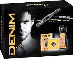 Подаръчен комплект - Denim Gold - Афтършейв, душ гел и електрически тример -