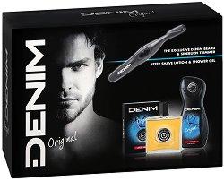 Подаръчен комплект - Denim Original - Афтършейв, душ гел и електрически тример - несесер