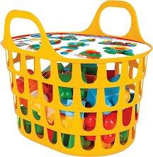 Детски конструктор с големи части в кошница - Комплект от 52 части -
