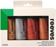 Акрилни бои с металиков ефект - Комплект от 4 цвята х 75 ml - боя