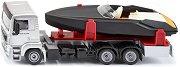 """Камион с моторна лодка - Frauscher 747 Mirage - Метални играчки от серията """"Super: Transporters & Loaders"""" -"""