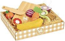 Плодове и зеленчуци - Дървен комплект с дъска и ножче за рязане -