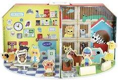 Ветеринарен кабинет и зоомагазин - Детски дървени играчки в куфарче -