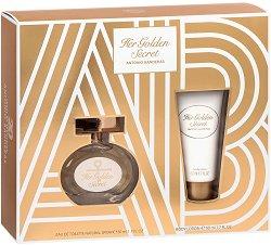"""Antonio Banderas Her Golden Secret - Подаръчен комплект с парфюм и лосион за тяло от серията """"Secret"""" - крем"""