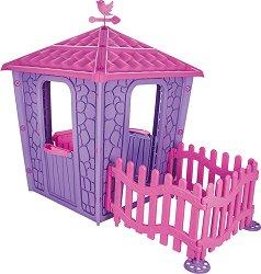 Детска сглобяема къща за игра с ограда - Stone House - Размери 114 / 151 / 179 cm - играчка