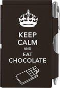 Тефтер с метални корици - Keep Calm And Eat Chocolate - Комплект с химикалка