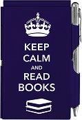 Тефтер с метални корици - Keep Calm And Read Books - Комплект с химикалка