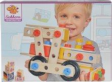 Детски дървен конструктор - Превозни средства - Комплект от 100 части - играчка