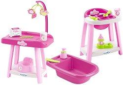 Маса за преповиване, стол за хранене и ваничка за кукли - Детски комплект за игра с аксесоари - играчка