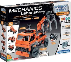 """Лаборатория по механика - Транспортни камиони - Образователен конструктор с 200 части от серията """"Clementoni: Science"""" - играчка"""