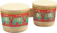 Барабани - Детски дървен музикален инструмент -