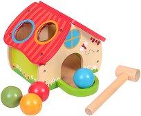 Сортер - Къщичка - Играчка с дървени топки и чукче - играчка