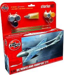Британски изтребител - De Havilland Vampire T11 - Сглобяем авиомодел - комплект с лепило и боички -