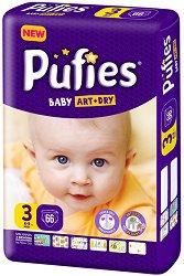 Pufies Baby Art & Dry New 3 - Midi - Пелени за еднократна употреба за бебета с тегло от 4 до 9 kg -