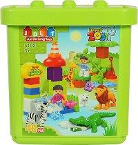 Детски конструктор в кутия - Happy Zoo - Комплект от 48 части -